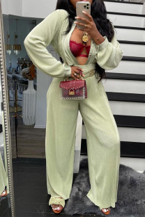 Fruit Green Casual Solid Split Joint Buckle Turndown Collar Long Sleeve Two Pieces(Without Belt)