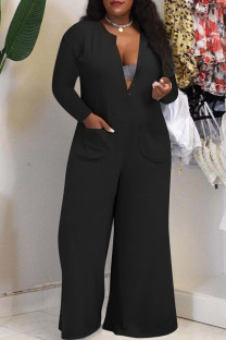 Black Fashion Casual Solid Pocket V Neck Plus Size Jumpsuits