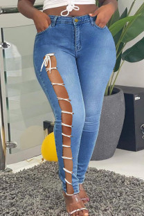 Medium Blue Fashion Casual Solid Embroidered Hollowed Out Plus Size Jeans