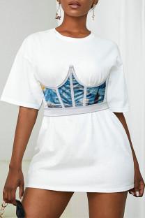 Blue Fashion Sexy Print Asymmetrical Bustiers