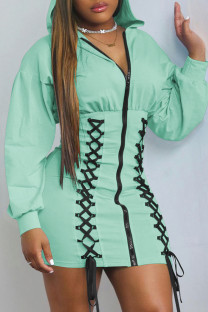 Light Green Fashion Casual Solid Bandage Split Joint Hooded Collar Long Sleeve Dresses