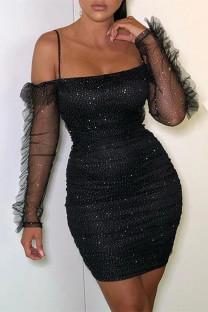 Black Fashion Sexy See-through Backless Spaghetti Strap Sleeveless Dress