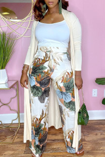 Khaki Fashion Casual Solid Cardigan Outerwear