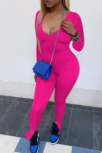 Rose Red Sexy Solid Split Joint V Neck Skinny Jumpsuits