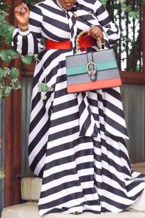 Black Sexy Striped Print Split Joint V Neck A Line Plus Size Dresses