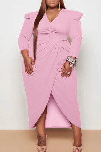 Pink Casual Solid Split Joint Fold Asymmetrical V Neck Princess Plus Size Dresses