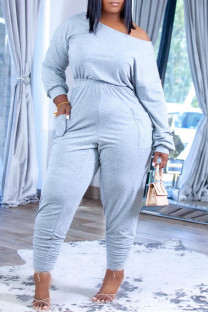 Grey Fashion Casual Solid Fold Off the Shoulder Regular Jumpsuits