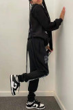 Black Fashion Casual Print Basic Hooded Collar Long Sleeve Two Pieces
