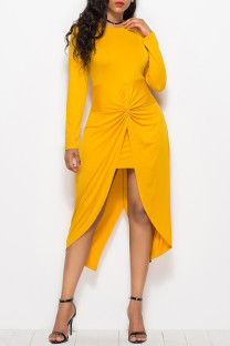 Yellow Fashion Casual Solid Split Joint Asymmetrical O Neck Long Sleeve Dresses