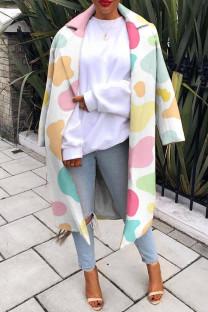 Colour Fashion Casual Print Cardigan Turndown Collar Outerwear