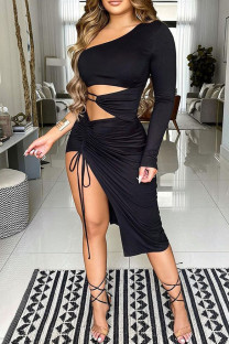 Black Sexy Solid Hollowed Out Split Joint Draw String Fold Asymmetrical Oblique Collar One Step Skirt Dresses