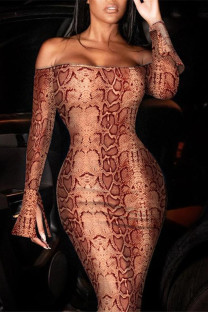 Brown Fashion Sexy Print Backless Off the Shoulder Long Sleeve Dresses