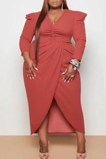 Tangerine Red Casual Solid Split Joint Fold Asymmetrical V Neck Princess Plus Size Dresses