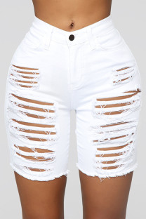 White Street Solid Ripped Hollowed Out Split Joint High Waist Straight Denim Shorts