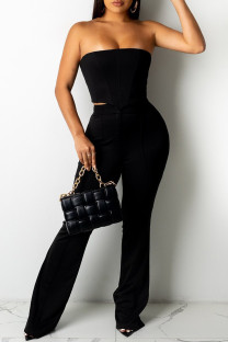 Black Fashion Sexy Solid Backless Strapless Sleeveless Two Pieces