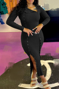 Black Fashion Casual Solid Split Joint Slit Long Sleeve Dresses