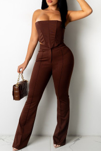 Coffee Fashion Sexy Solid Backless Strapless Sleeveless Two Pieces