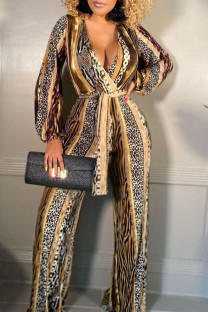 Yellow Brown Casual Print Split Joint V Neck Straight Jumpsuits