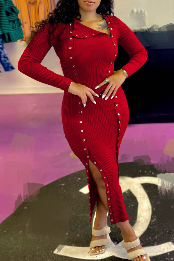 Red Fashion Casual Solid Split Joint Slit Long Sleeve Dresses