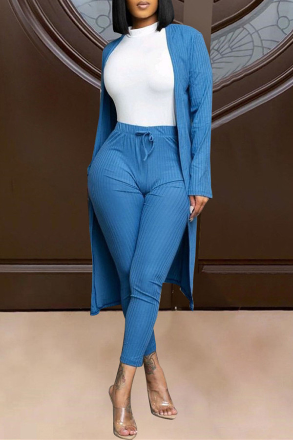 Blue Fashion Solid Cardigan Pants Long Sleeve Two Pieces