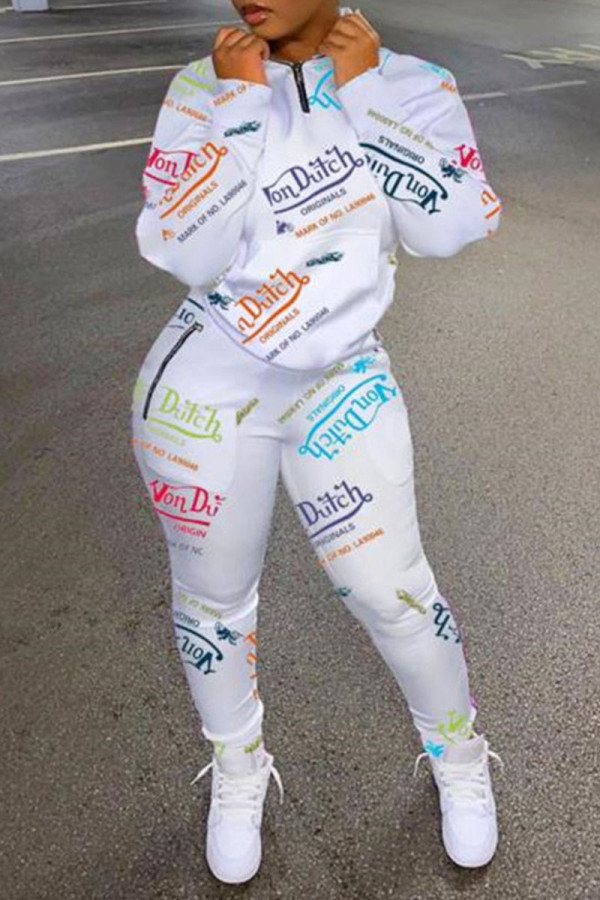 White Casual Print Split Joint Zipper Collar Long Sleeve Two Pieces