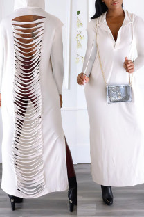 White Sexy Street Solid Hollowed Out Split Joint Slit Hooded Collar Straight Dresses