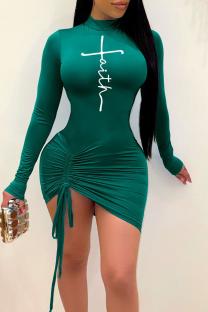 Green Sexy Print Split Joint Half A Turtleneck Dresses
