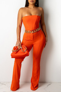 Orange Fashion Sexy Solid Backless Strapless Sleeveless Two Pieces