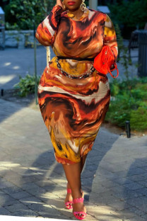 Coffee Sexy Print Split Joint O Neck One Step Skirt Plus Size Dresses(Without Belt)