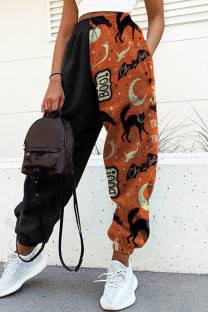 Multicolor Fashion Casual Print Split Joint Regular High Waist Conventional Patchwork Bottoms