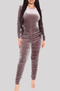 Grey Sexy Casual Solid Backless Fold O Neck Skinny Jumpsuits