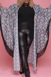 Grey Fashion Casual Print Cardigan Plus Size Overcoat