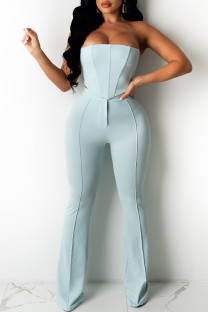 Light Blue Fashion Sexy Solid Backless Strapless Sleeveless Two Pieces