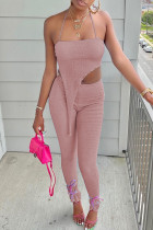 Pink Sexy Solid Split Joint Asymmetrical Strapless Long Sleeve Two Pieces