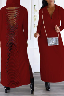 Burgundy Sexy Street Solid Hollowed Out Split Joint Slit Hooded Collar Straight Dresses