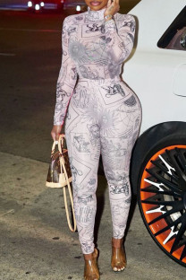 White Pink Sexy Print Split Joint O Neck Skinny Jumpsuits
