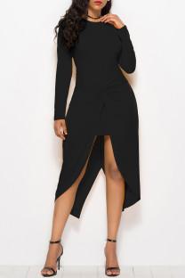 Black Fashion Casual Solid Split Joint Asymmetrical O Neck Long Sleeve Dresses