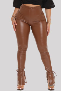 Camel Fashion Casual Solid Slit Skinny High Waist Pencil Trousers