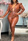 Brown Fashion Casual Solid Split Joint Zipper Collar Regular Jumpsuits