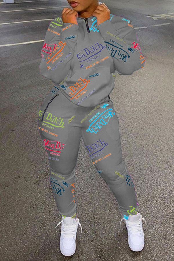 Grey Casual Print Split Joint Zipper Collar Long Sleeve Two Pieces