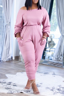 Pink Fashion Casual Solid Fold Off the Shoulder Regular Jumpsuits