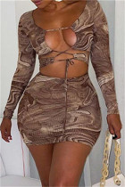Brown Fashion Sexy Print Bandage Hollowed Out Long Sleeve Dresses