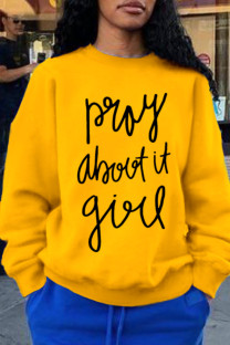 Yellow Casual Daily Print Split Joint Letter O Neck Tops