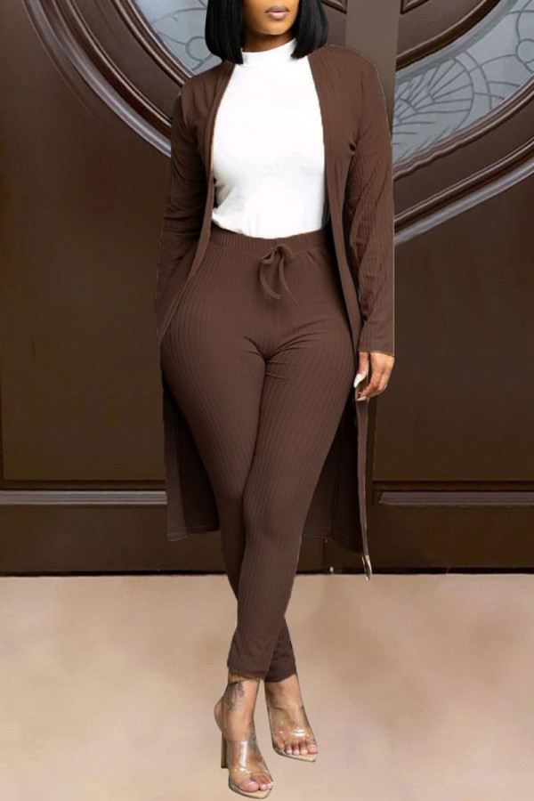 Brown Fashion Solid Cardigan Pants Long Sleeve Two Pieces