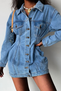 Medium Blue Fashion Casual Solid Split Joint Turndown Collar Long Sleeve Regular Denim Dresses