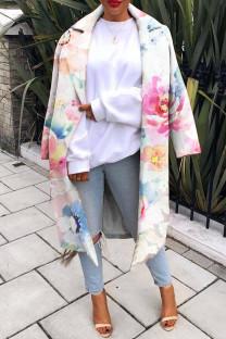 White Fashion Casual Print Cardigan Turndown Collar Outerwear