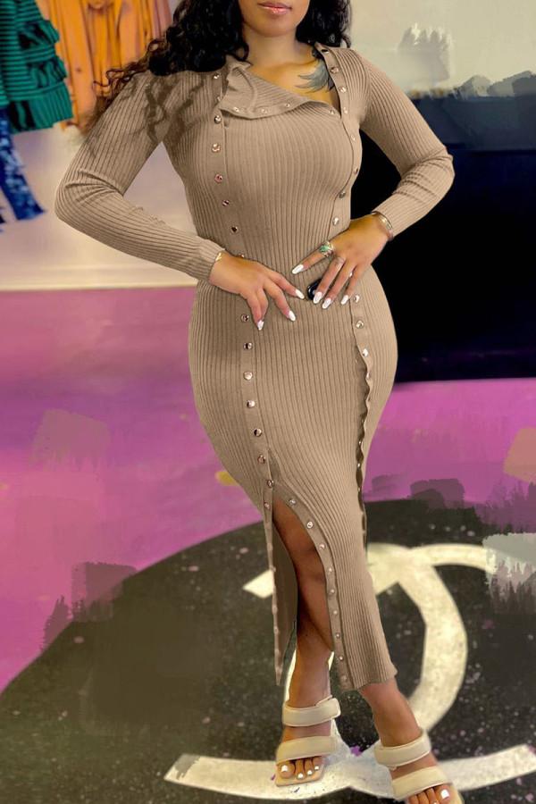 Khaki Fashion Casual Solid Split Joint Slit Long Sleeve Dresses