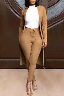 Khaki Fashion Solid Cardigan Pants Long Sleeve Two Pieces