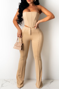 Khaki Fashion Sexy Solid Backless Strapless Sleeveless Two Pieces