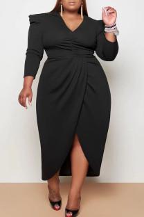 Black Casual Solid Split Joint Fold Asymmetrical V Neck Princess Plus Size Dresses